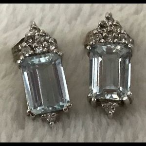 Jewelry - Estate 14K White Gold 2CTW Aquamarine Earrings